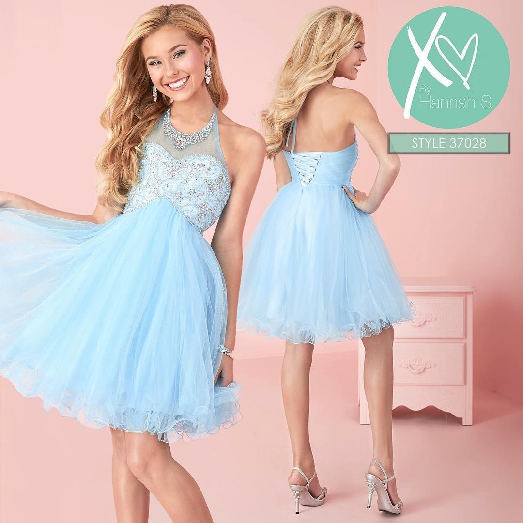 Light Blue Short Prom Dresses Beaded Halter Neck Corset Back Girls ...