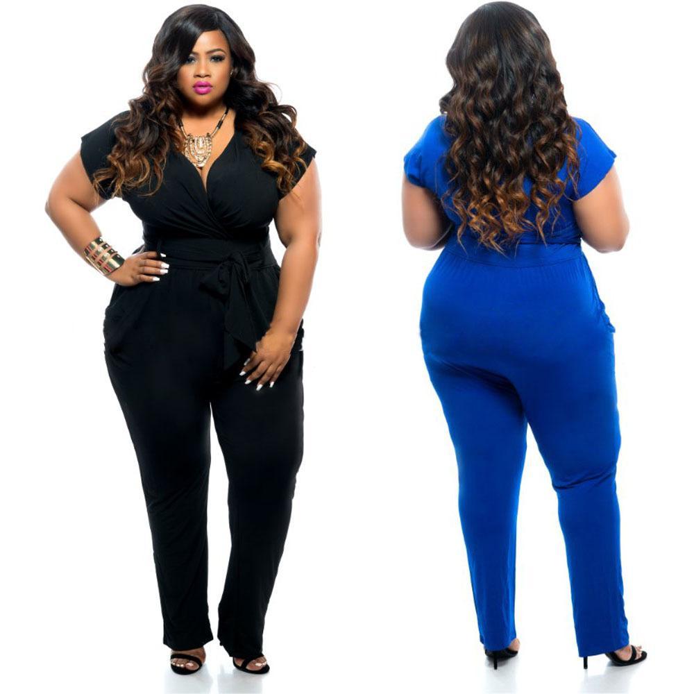 Best Black/Blue Super Sexy Deep V Neck Jumpsuits Plus Size Tie ...