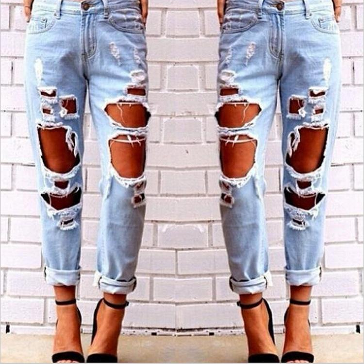 Hug Me Women The Big Hole Jeans Pants 2016 New Lady Fashion Tassel ...