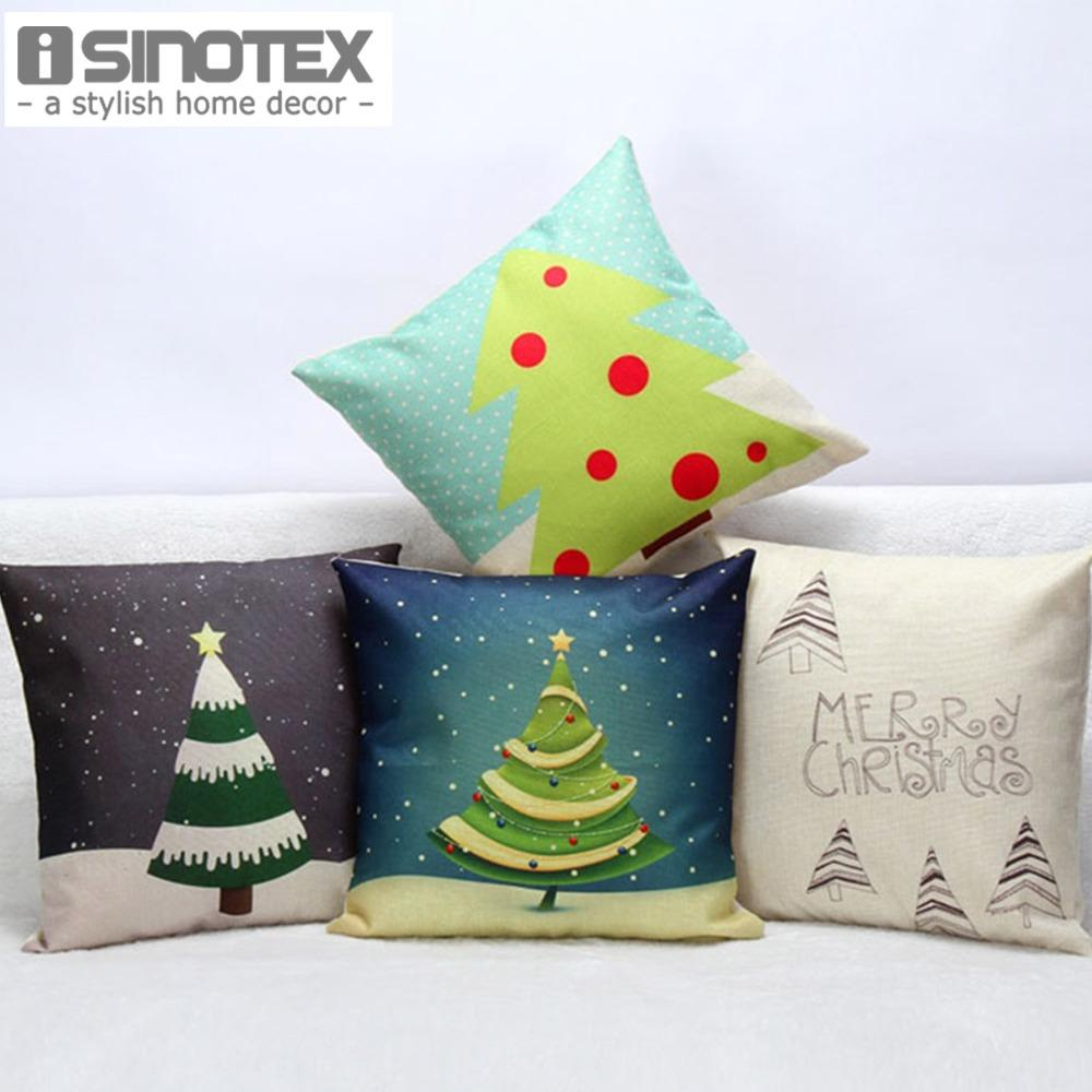 Christmas Tree Pattern Linen Cushion