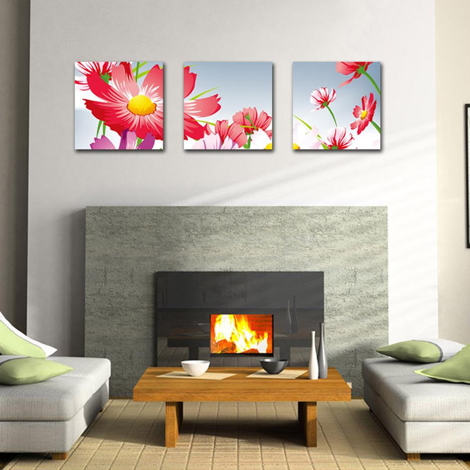 2017 unframed home decoration canvas prints red cartoon flowers