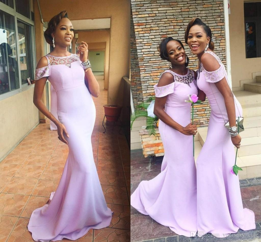 2018 elegant lilac mermaid bridesmaid dresses off shoulder crystal 2018 elegant lilac mermaid bridesmaid dresses off shoulder crystal satin african aso ebi wedding guest dresses light purple bridesmaid gowns mermaid ombrellifo Image collections