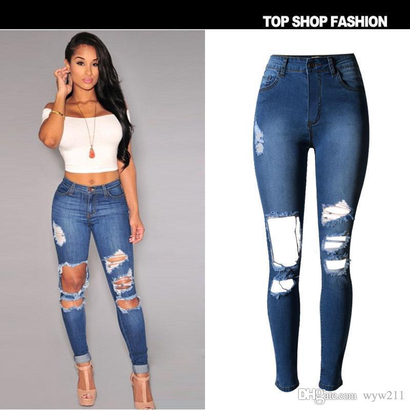 Online Cheap Ripped Jeans For Women Elastic Waist Hole Jeans Pants