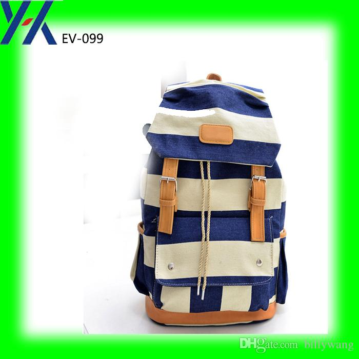 Blue And White Strip 18 Oz Washing Canvas Backpack Bag With String ...