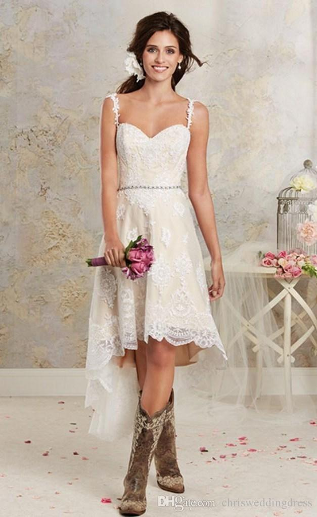 Discount simple unique country style high lace low wedding for Simple country wedding dresses