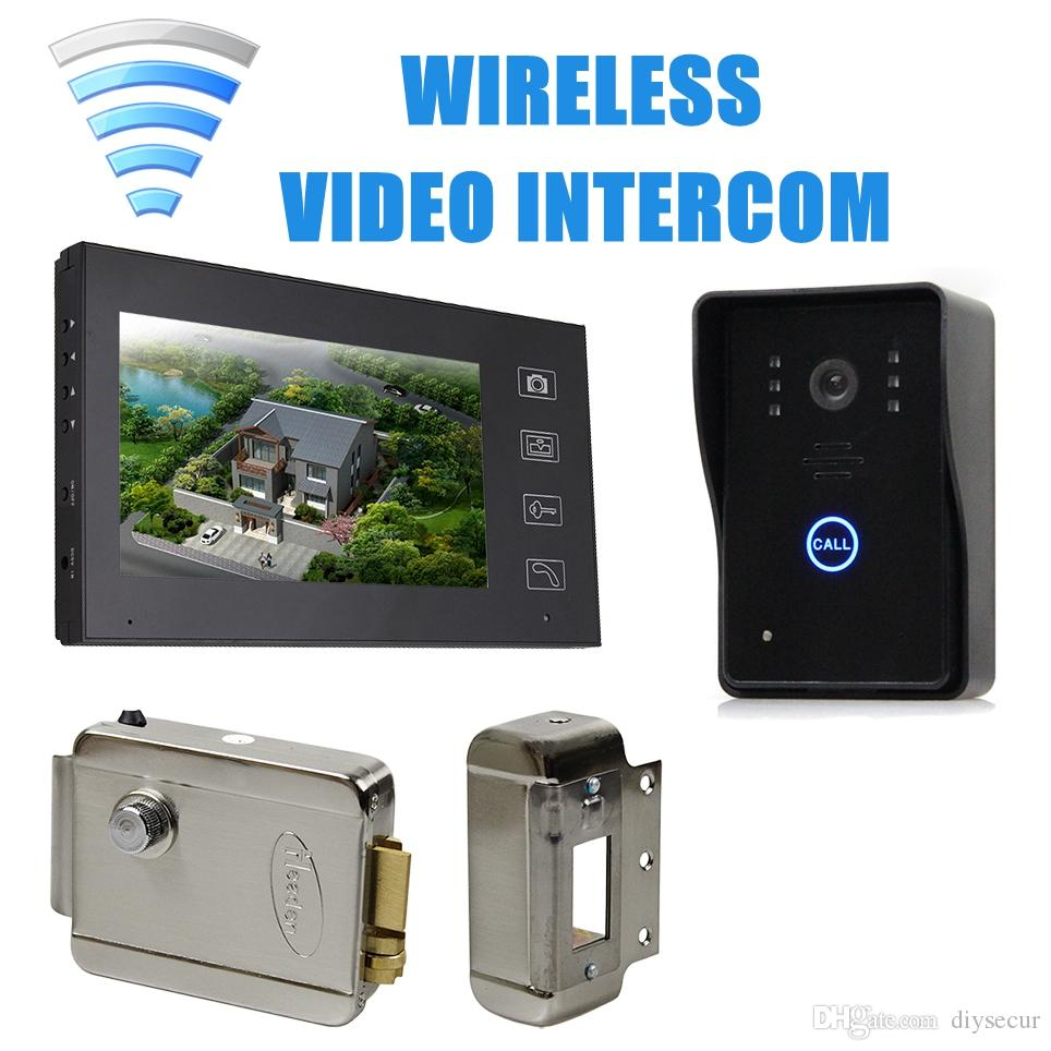 Best doorbell camera system - Wireless 7 Inch Video Door Phone Intercom Doorbell Home Security Touch Camera Monitor Electric Lock Security Entry Intercom Video Intercom Online With