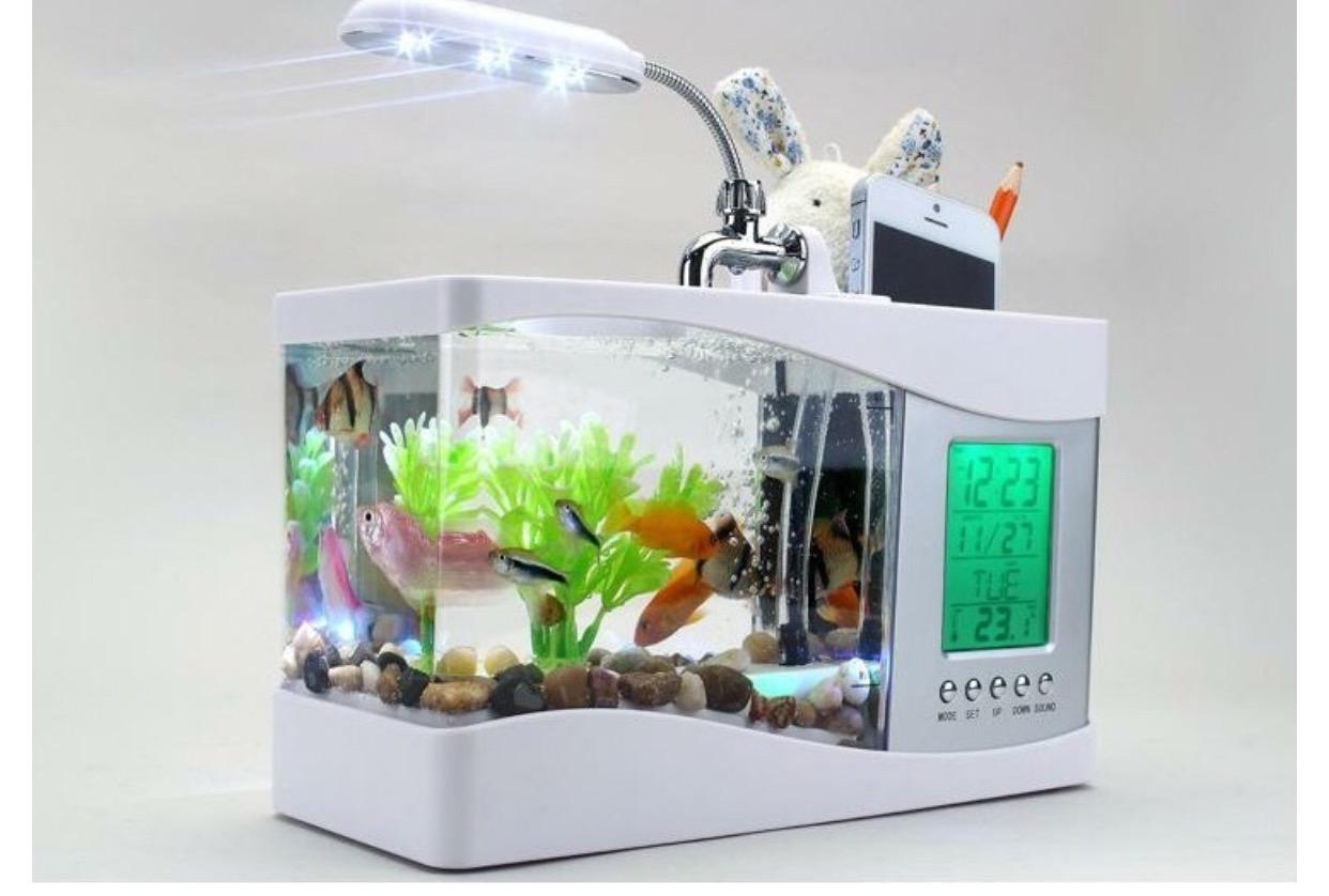 mini fish tank usb aquarium with led lamp clock business gift pen holder usb aquarium mini fish. Black Bedroom Furniture Sets. Home Design Ideas
