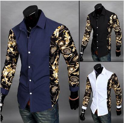 2017 2016 Chemise Mens Clothes Camisa Social Masculina Black Gold ...