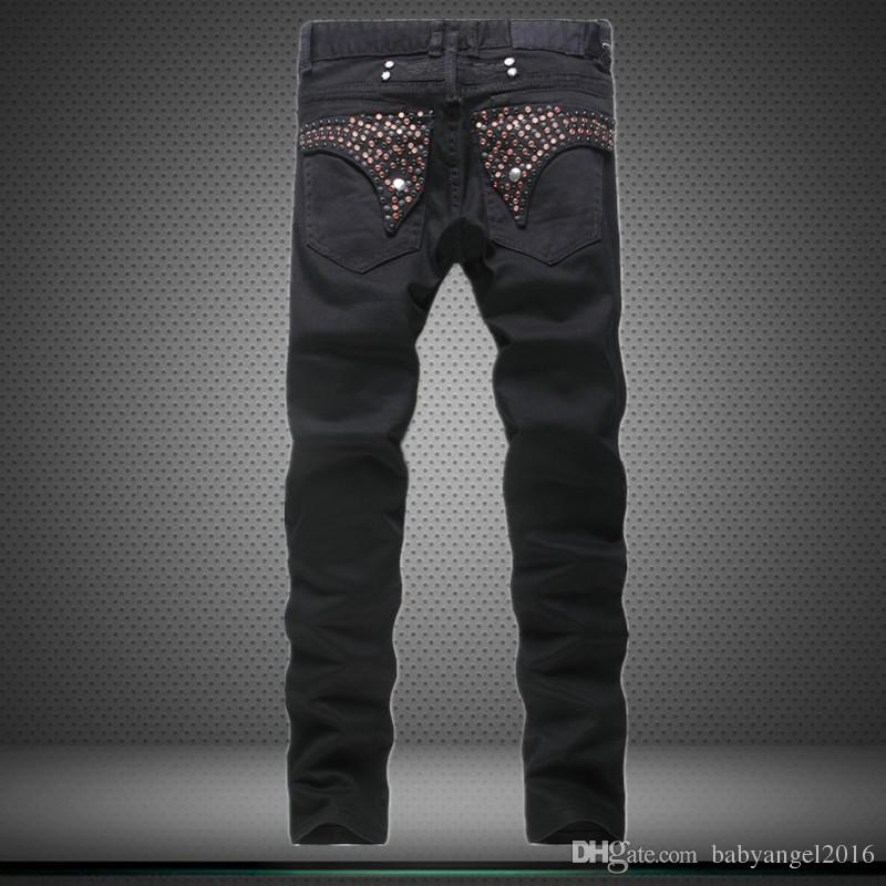 Rivets Paint Printed Ripped Designer Jeans Pants New Robbin Jeans