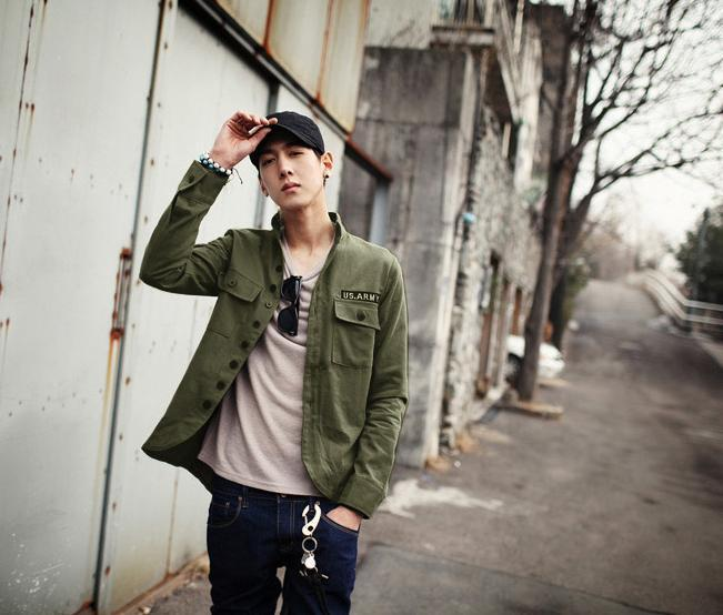 Army Green Autumn Denim Jacket Men Korean Casual Single Breasted