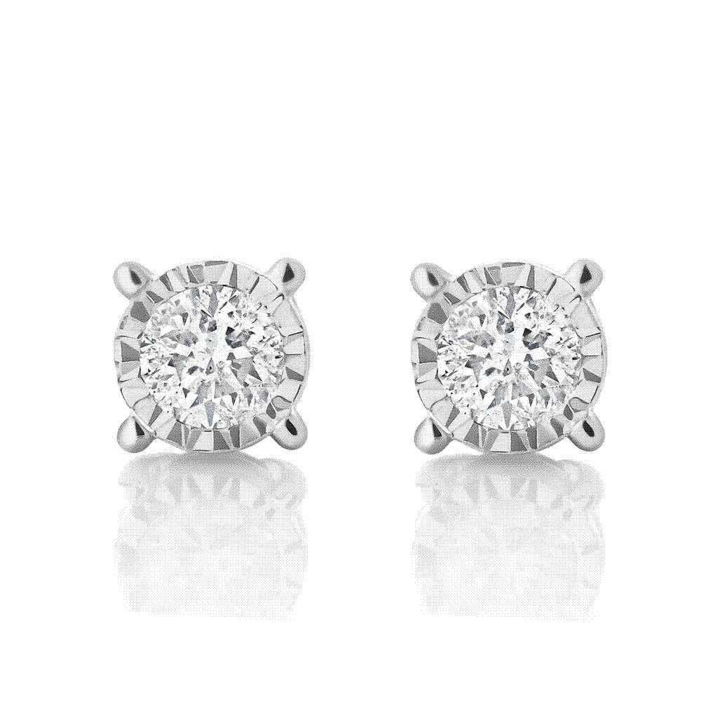 2017 010 Ctw Miracle Set Round Natural Diamond Stud Earrings 10k White  Gold Wedding Earrings For Women Gemstoneking From No3shop, $1175   Dhgate