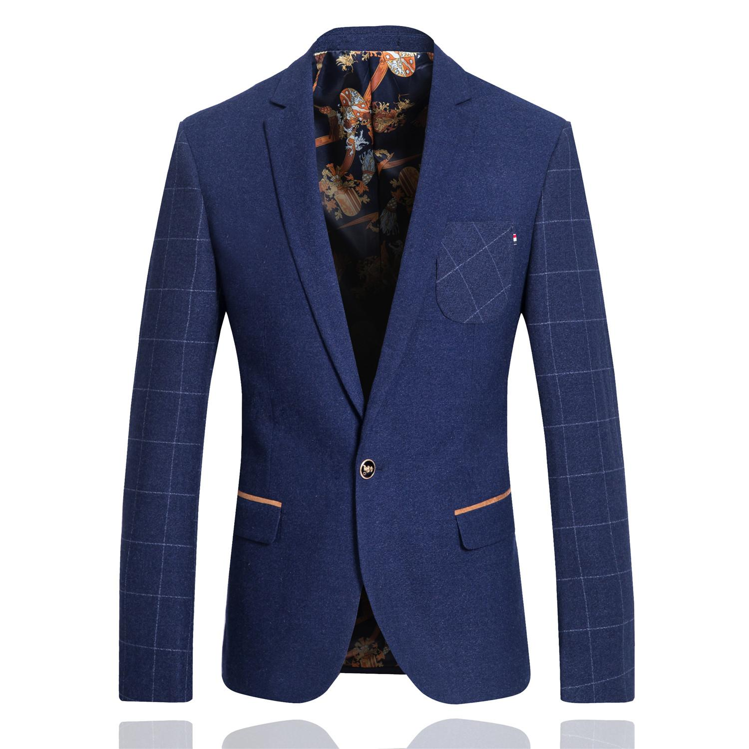 2017 Men'S Suit Jacket Blue Color Blazer Slim Fit Coat Business ...