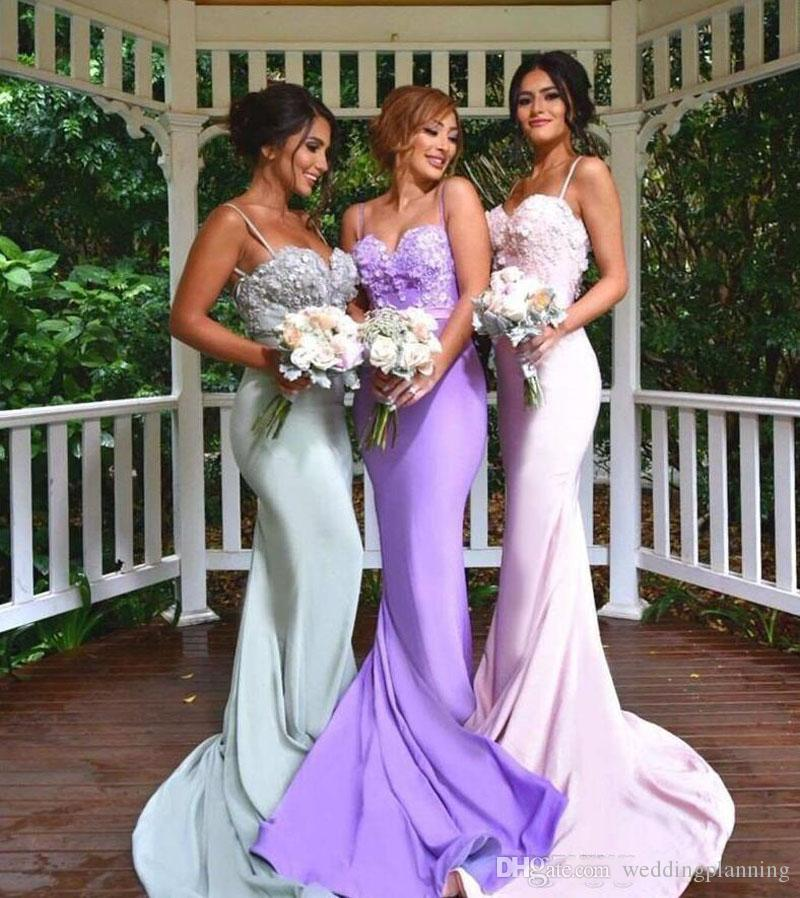 2016 United States Popular Mermaid Bridesmaid Dresses Cheap Backless Strap Lace Applique Sweep