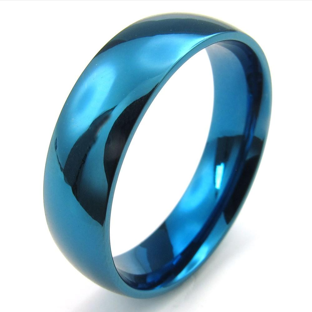 072616 Ring Wholesale China Mens Womens Stainless Steel Blue Ring JewelryWidth 6mm Comfort Fit