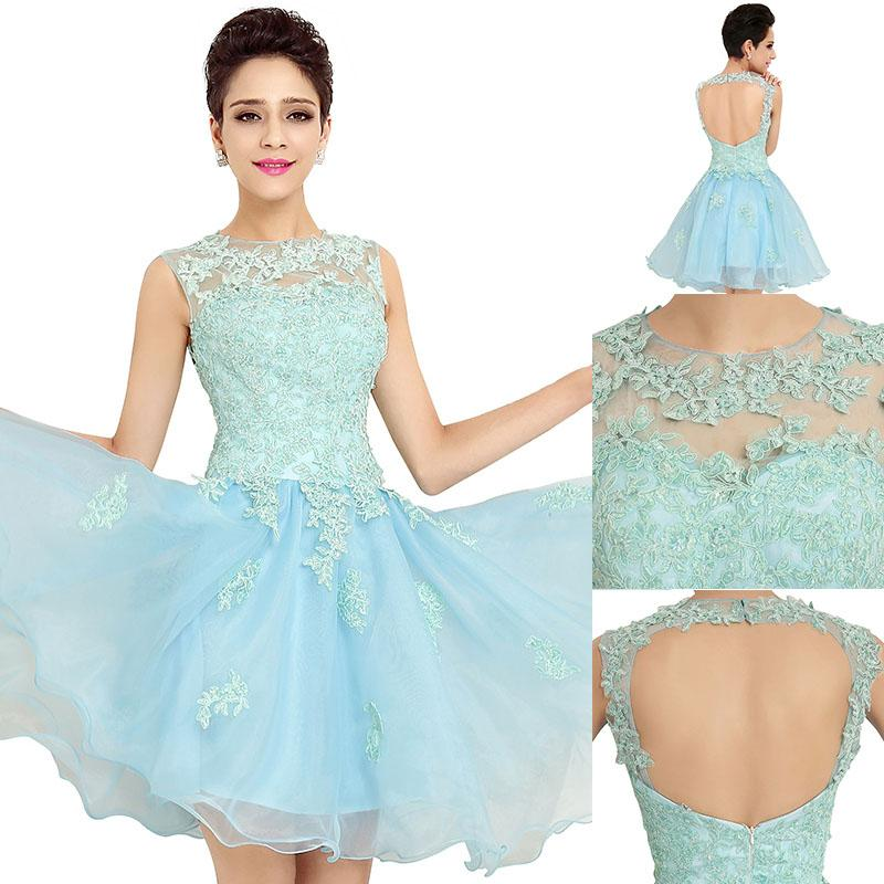 Sky Blue Short Lace Prom Dresses 2016 New Style Sexy Open Back ...
