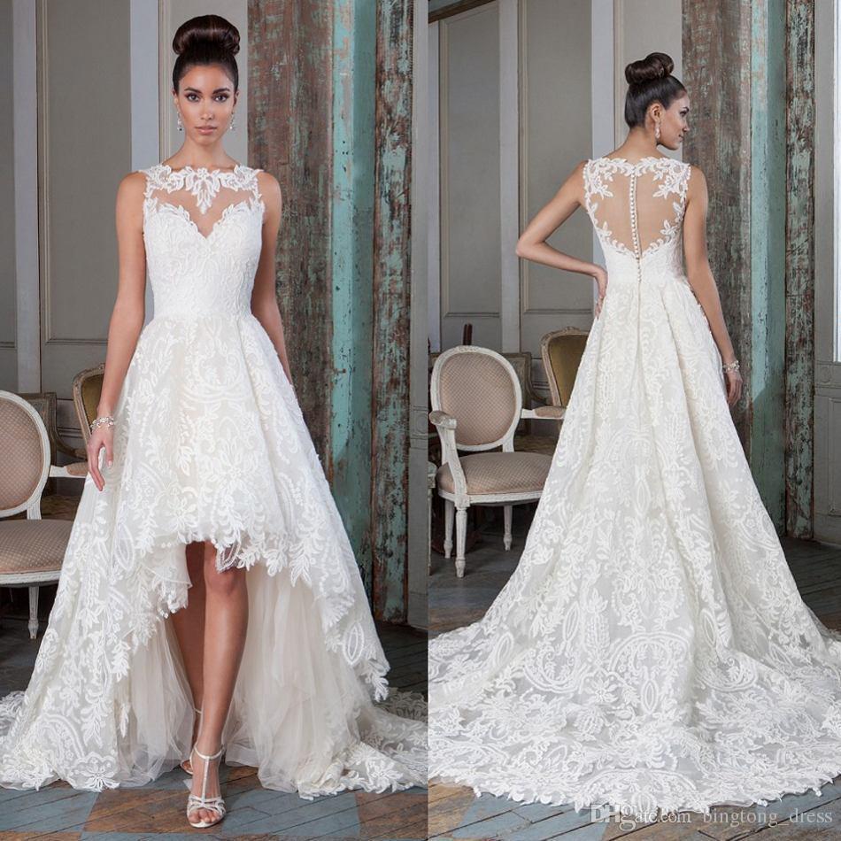 High Quality A Line High Low Wedding Dresses Flower