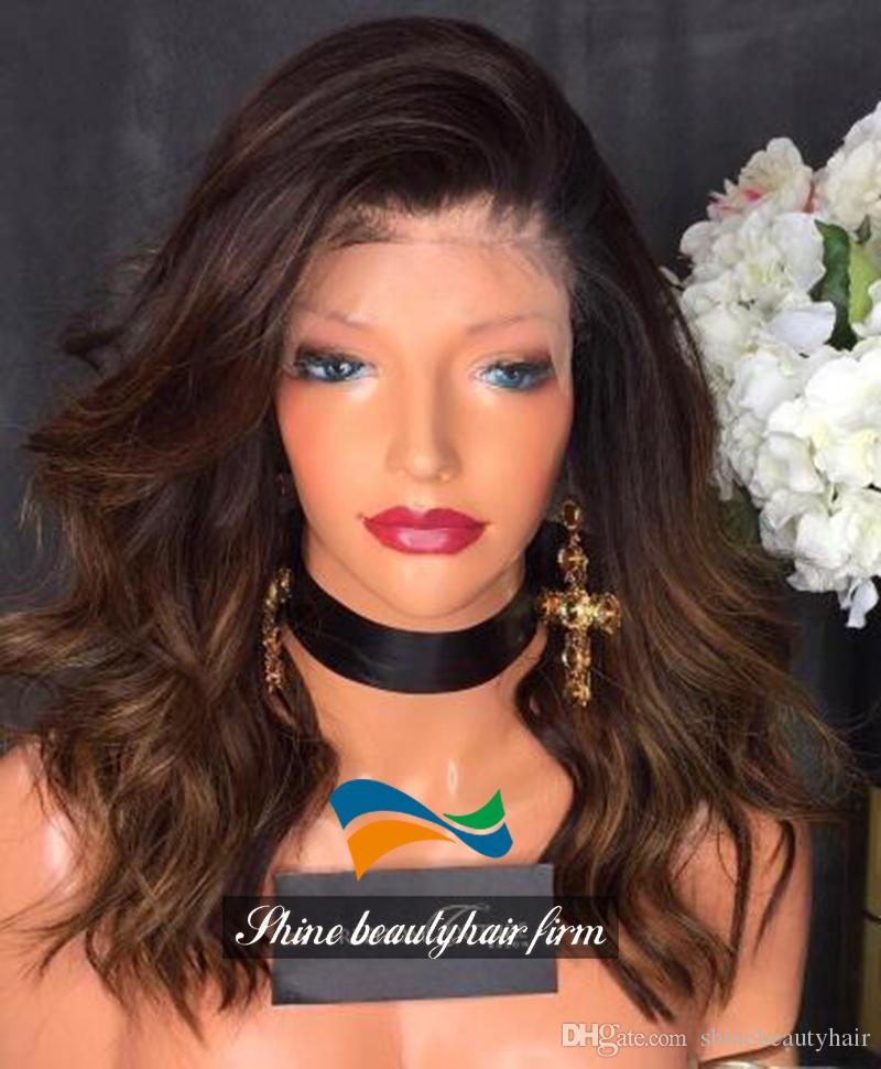 Admirable Wholesale Ombre Dark Medium Brown Silk Top Full Lace Wigs With Short Hairstyles Gunalazisus