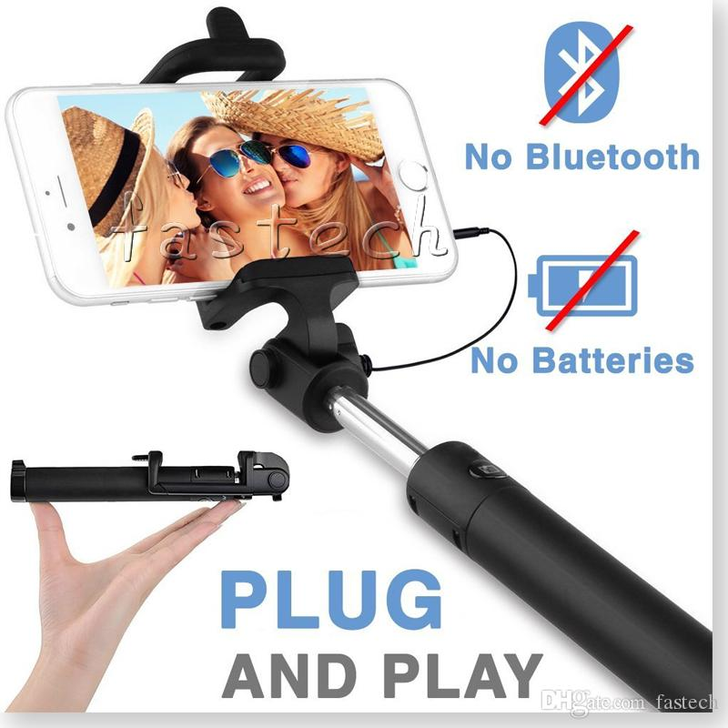 2017 selfie stick battery free wired selfie stick mini monopod for iphone se 6s 6s plus 6 6 plus. Black Bedroom Furniture Sets. Home Design Ideas