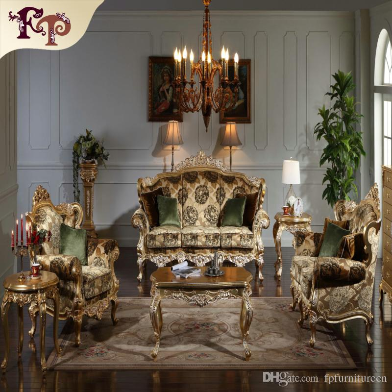 2017 Baroque Classic Living Room Furniture European Classic Sofa Set With Gold Leaf Gilding