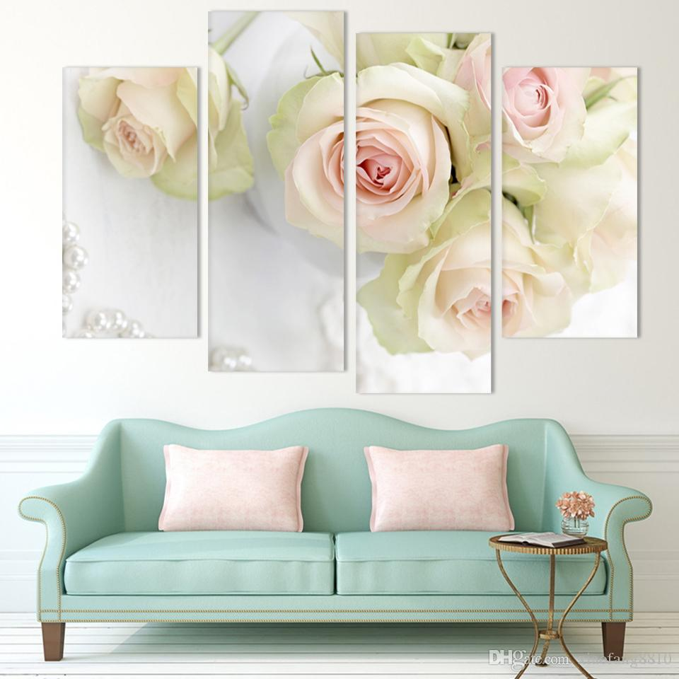 Online cheap hot sell 4 panel white rose flower large hd for Decor 2 sell