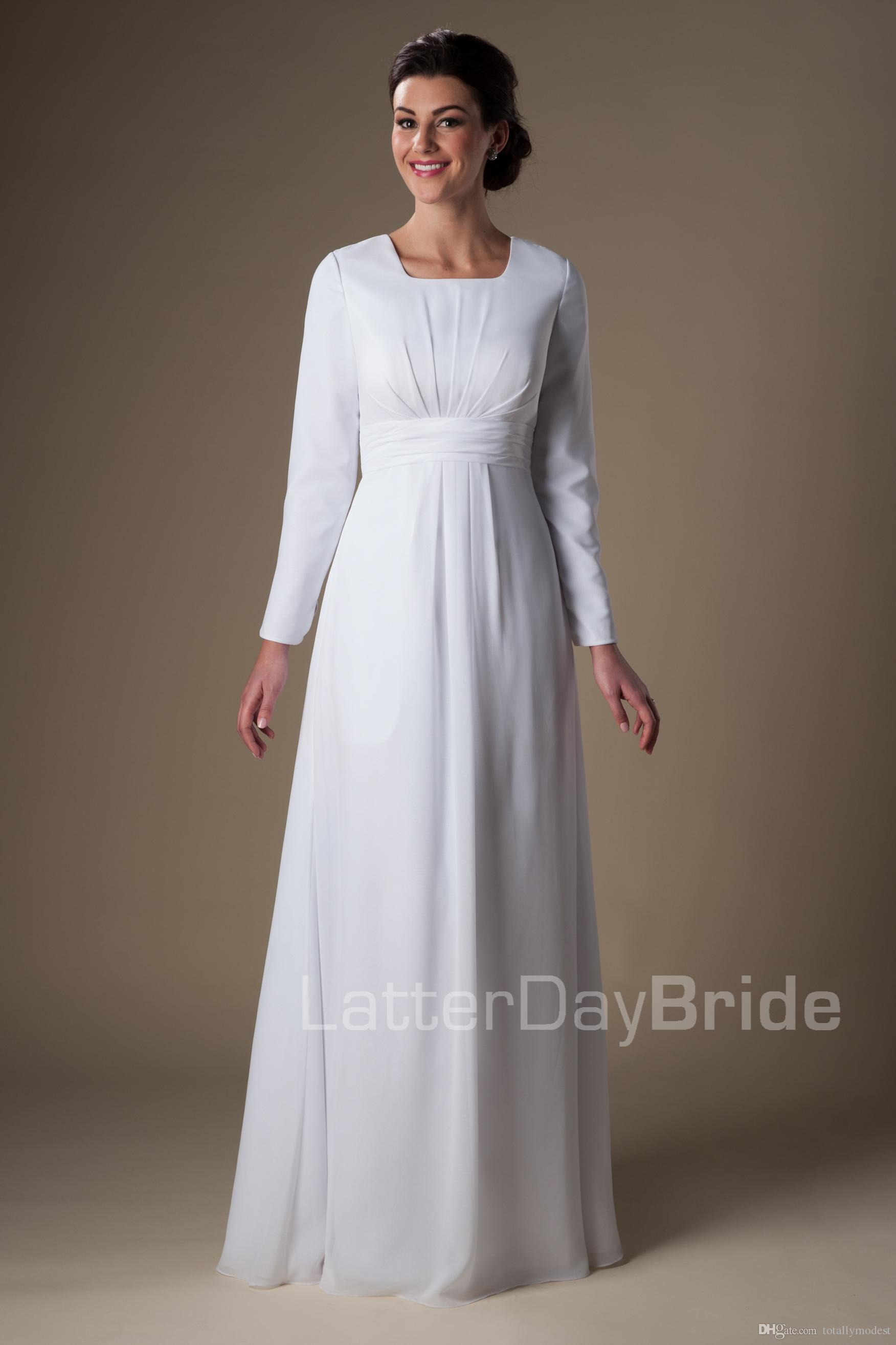 Discount Simple White Chiffon Temple Long Sleeves Wedding Dresses ...