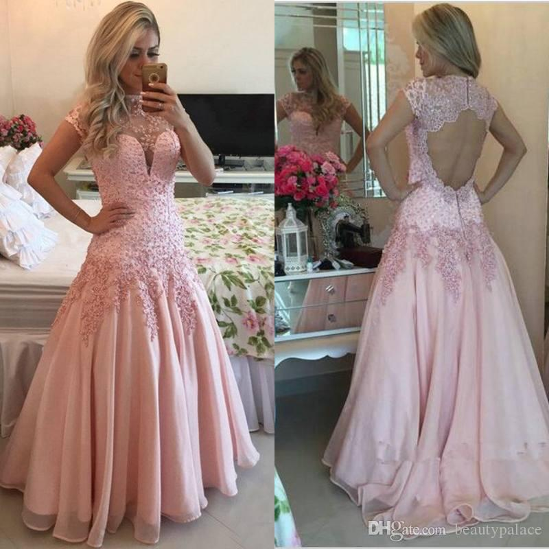 High Neck Cap Sleeves Pink Prom Dresses 2017 Sexy Open