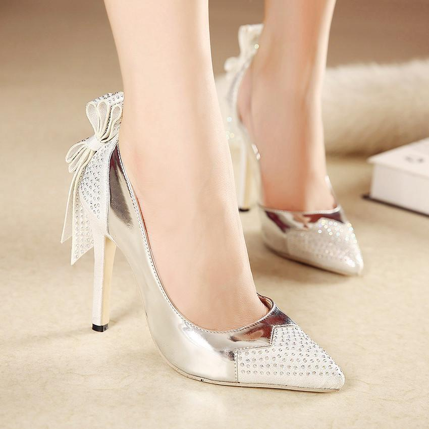 Sexy Bridal Shoes With Bowtie Silver Crystal Wedding Shoes ...