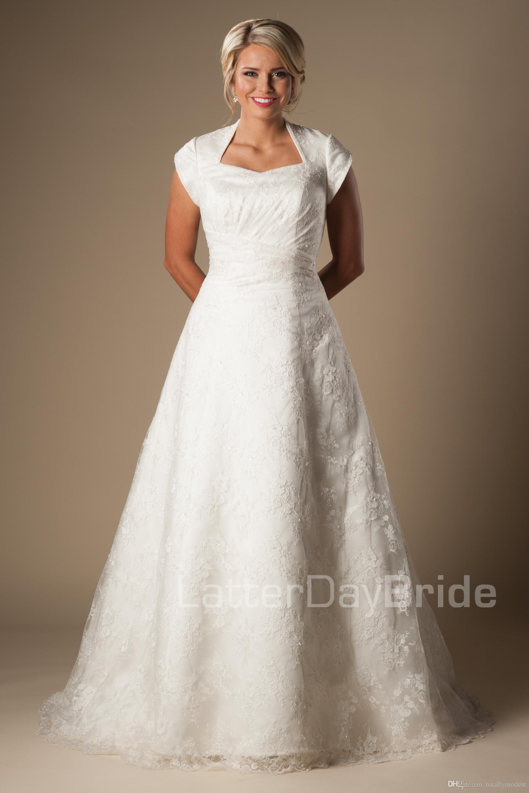 Vintage Lace A line Modest Wedding Dresses With Cap