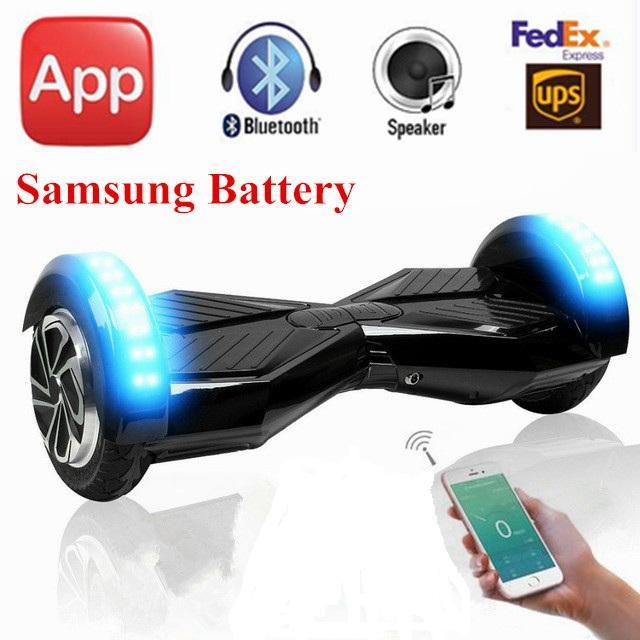 8 inch bluetooth speaker mobile app led light electric hoverboard 2 two wheels self balancing. Black Bedroom Furniture Sets. Home Design Ideas