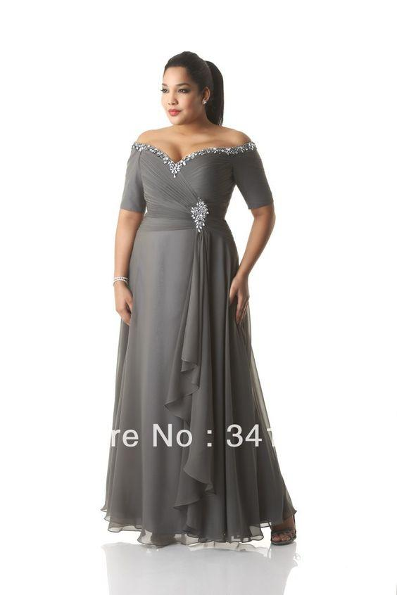 Short Sleeves Off Shoulder Grey Chiffon Plus Size Special
