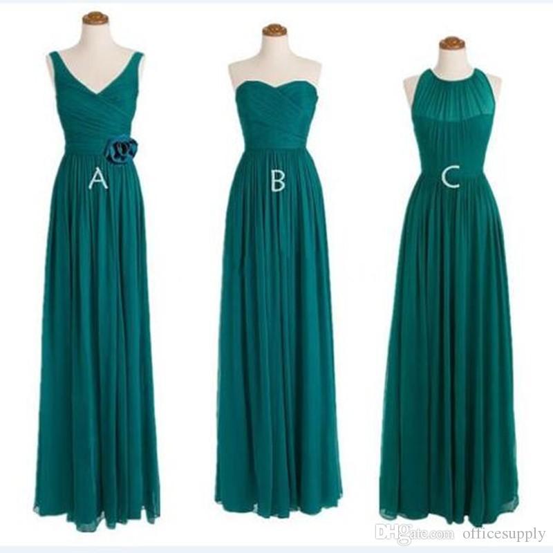 Long chiffon teal bridesmaid dresses 2016 cheap bridesmaid for Made of honor wedding dress