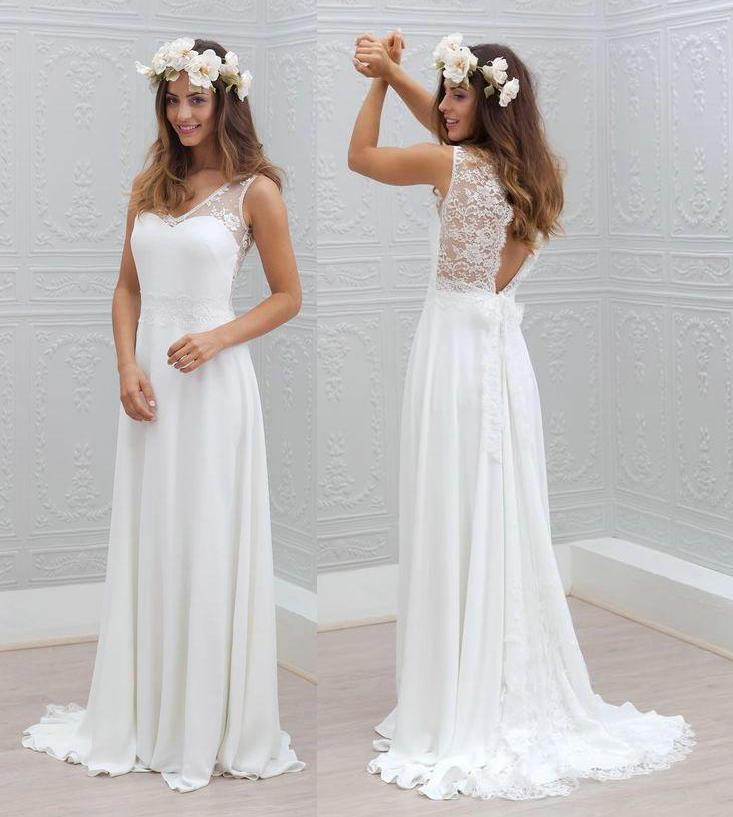Discount Cheap Lace Sheer Straps Beach Wedding Dresses 2016 Lace Applique Backless A Line V Neck