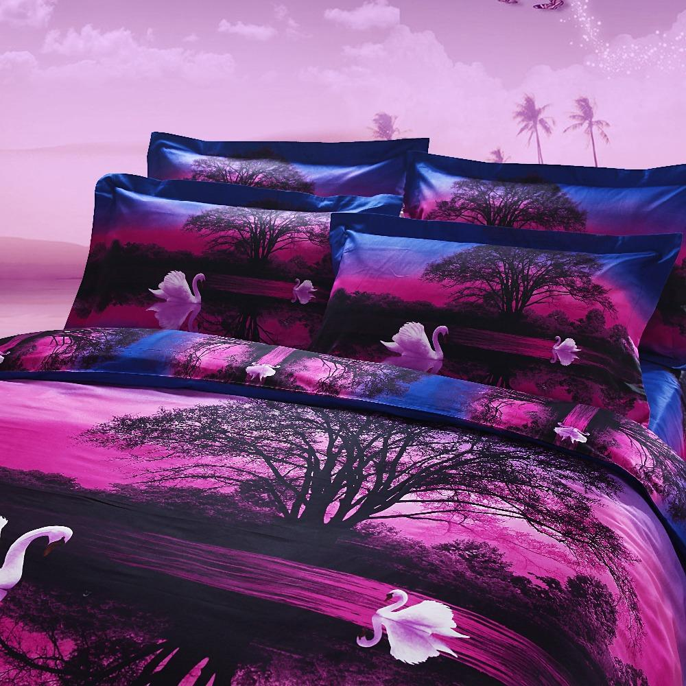 Bed sheets for wedding - Swan Sunset 4pc Bedding Set 3d Bed Sheets Wedding Luxury Quilt Duvet Cover Bedspread Queen