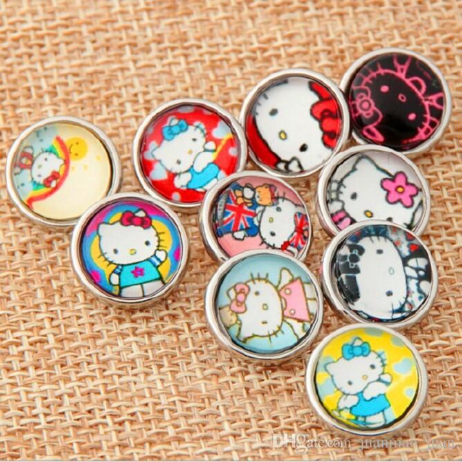 18MM Snap boutons Metal Glass Noosa morceaux 10 Mix Cartoon Anna Elsa Minions St
