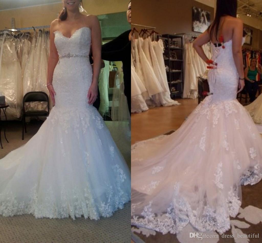 2016 Custom Made Mermaid Lace Wedding Gowns y