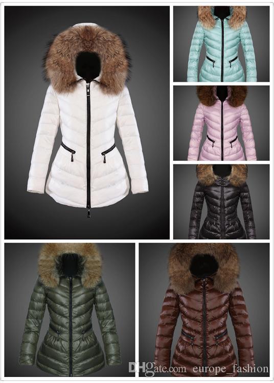 Super Large Caps Fox Collar Women Down Jacket Coat Slim Stylish ...