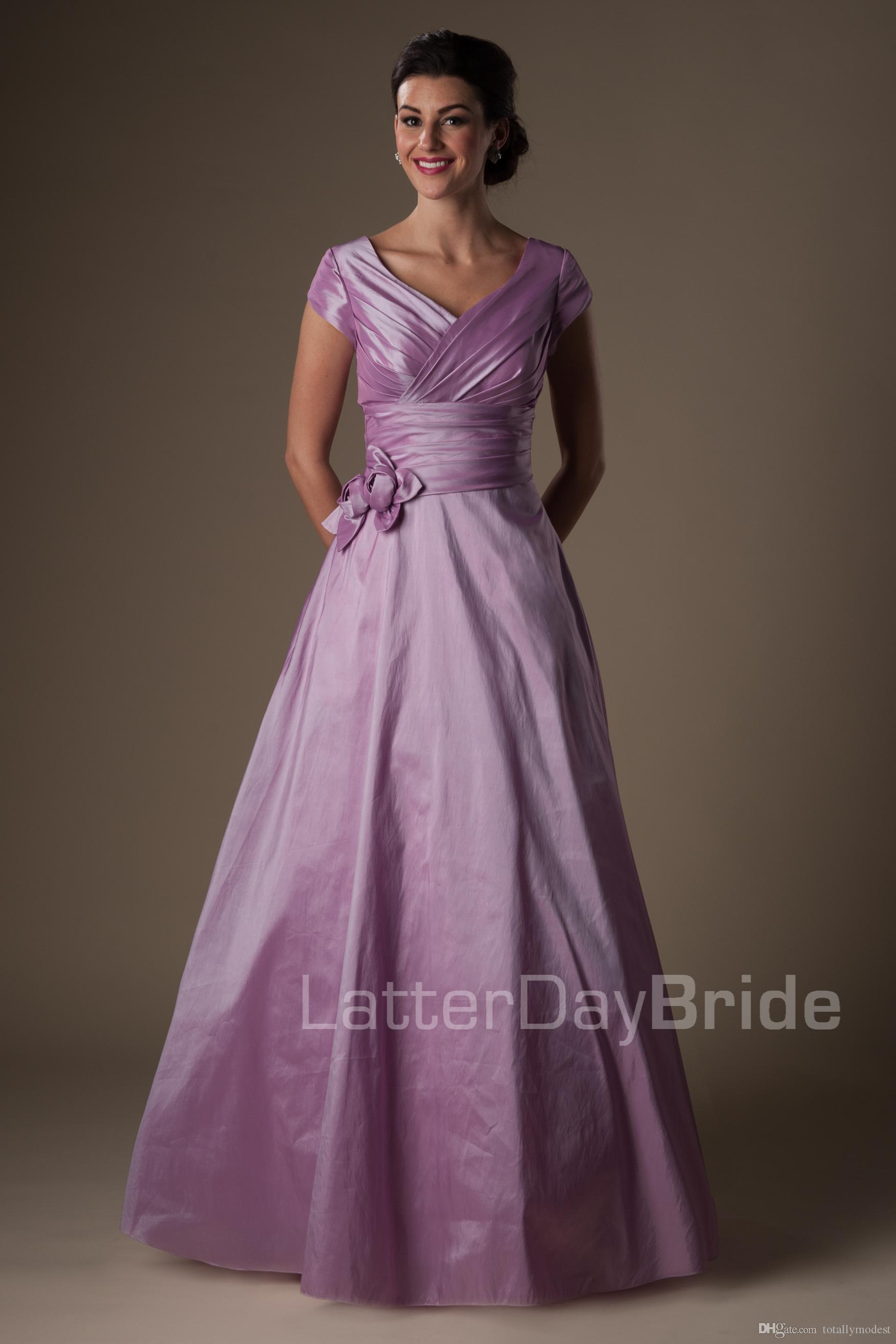 Vintage Simple Lilac Long Modest Prom Dresses With Cap