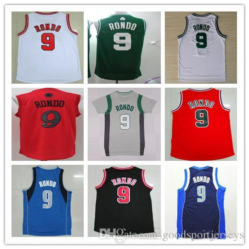 2017 Christmas Red White Black Stitched 9 Rajon Rondo Jerseys 2018 ...