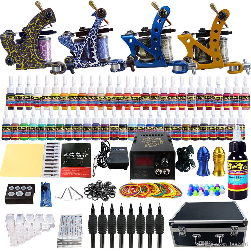 Solong tattoo wholesale sale tattoo kit 4 beginner machine for Tattoo supplies wholesale