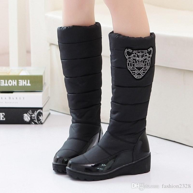 2016 fashion winter boots platform fur inside warm knee