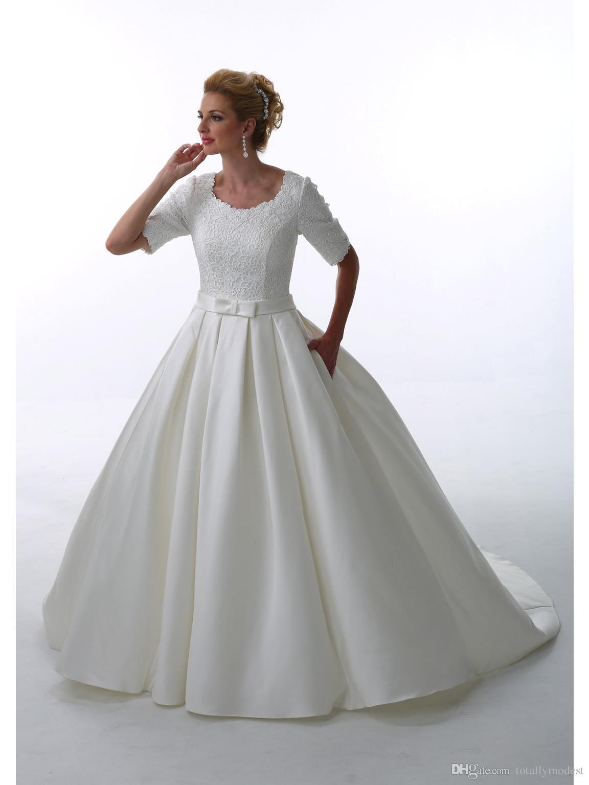 2016 Ball Gown Lace Satin Modest Wedding Dresses Half