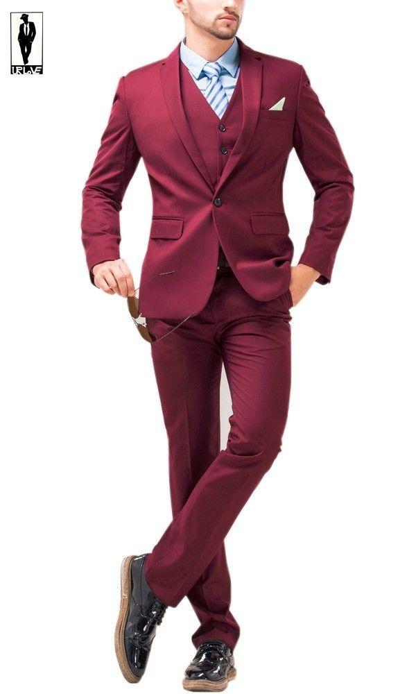 2016 ur 82 burgundy slim fit anzug handmade plus size. Black Bedroom Furniture Sets. Home Design Ideas