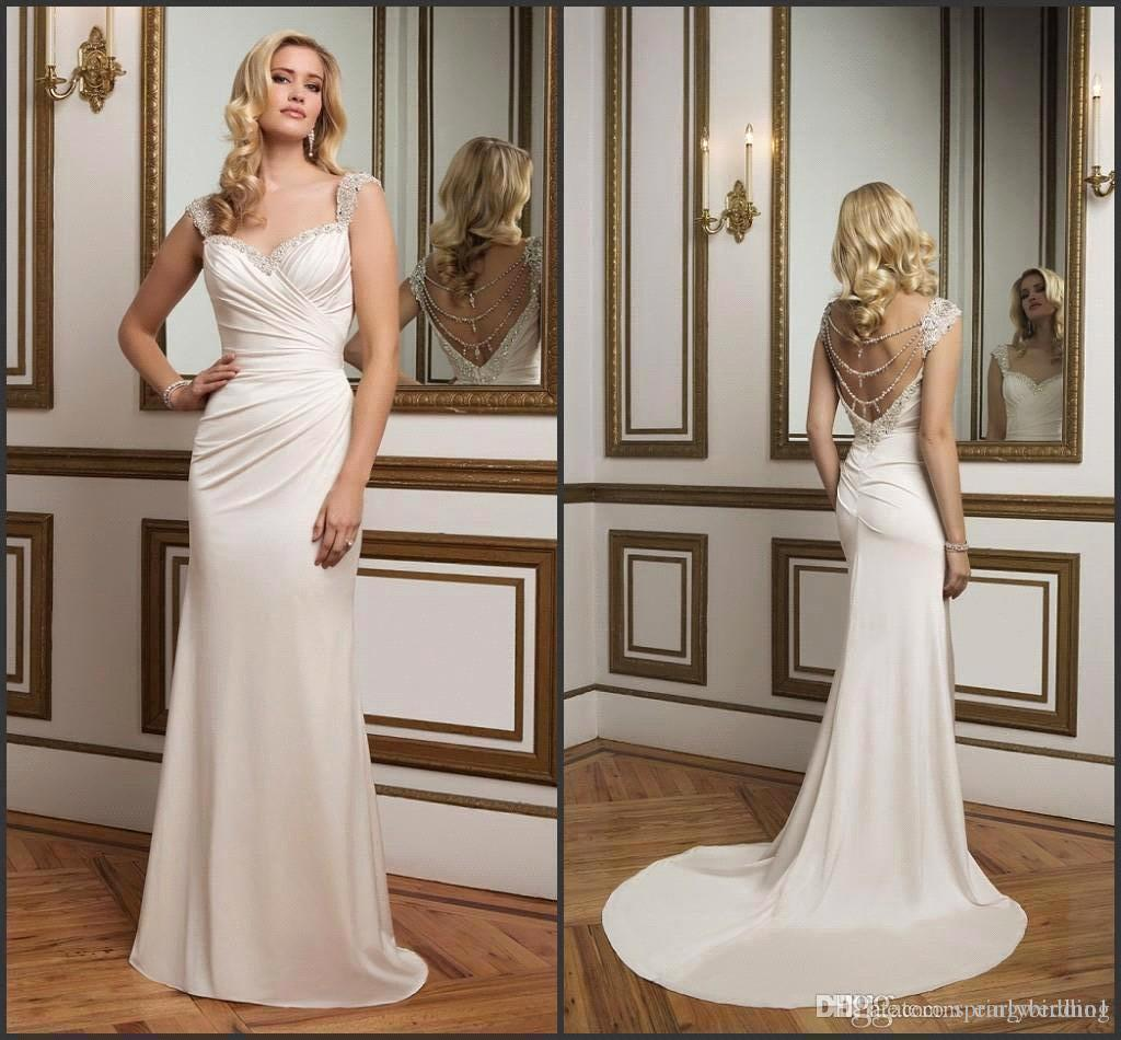 New glamorous jersey wedding dresses sweetheart with for Old hollywood wedding dress