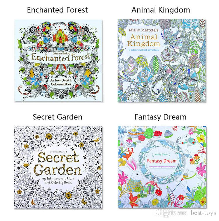 Coloring Books 4 Designs Secret Garden Animal Kingdom