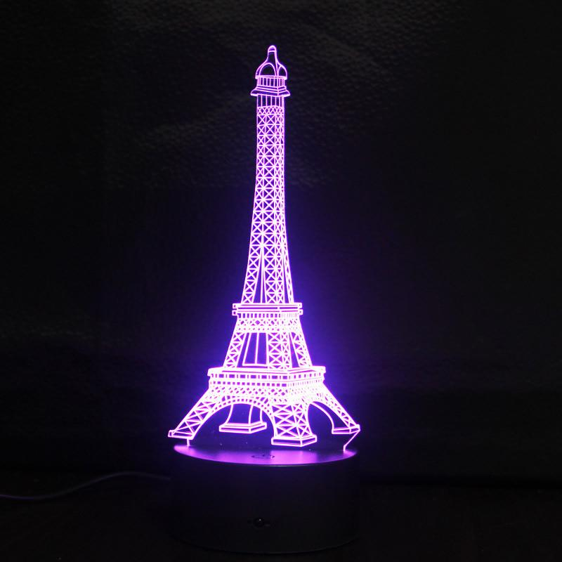 Lighting Stores In Paris: Eiffel Tower 3D Illusion Led Night Lights Changeable Fairy