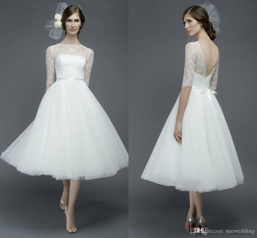 Discount vestido de noiva tea length bridal gowns lace for Cheap wedding dresses tea length