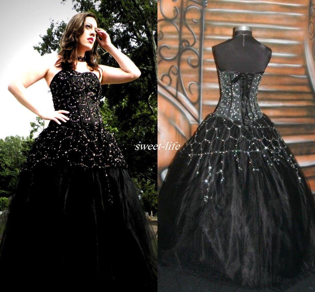 Plus size black corset wedding dresses : Newest designer gothic black wedding dresses sexy