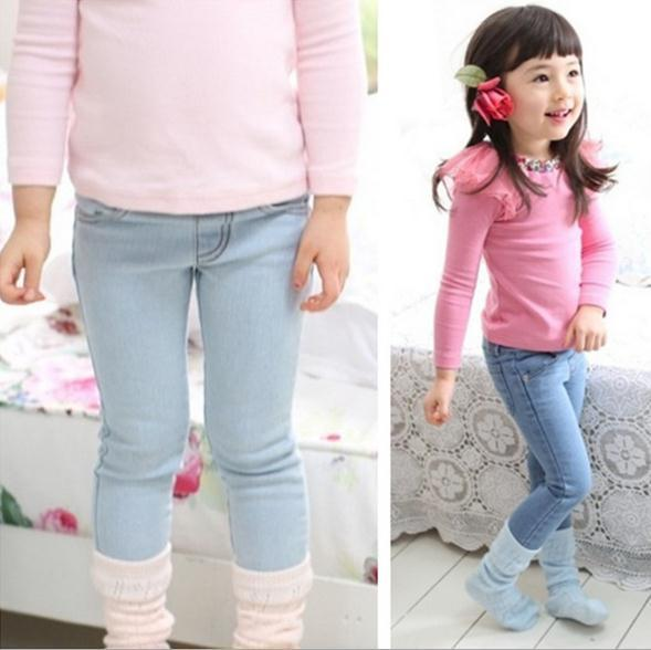 2016 Autumn Top Children Girls Jeans Female Casual Pants Legging Kids Trousers Autumn Winter ...