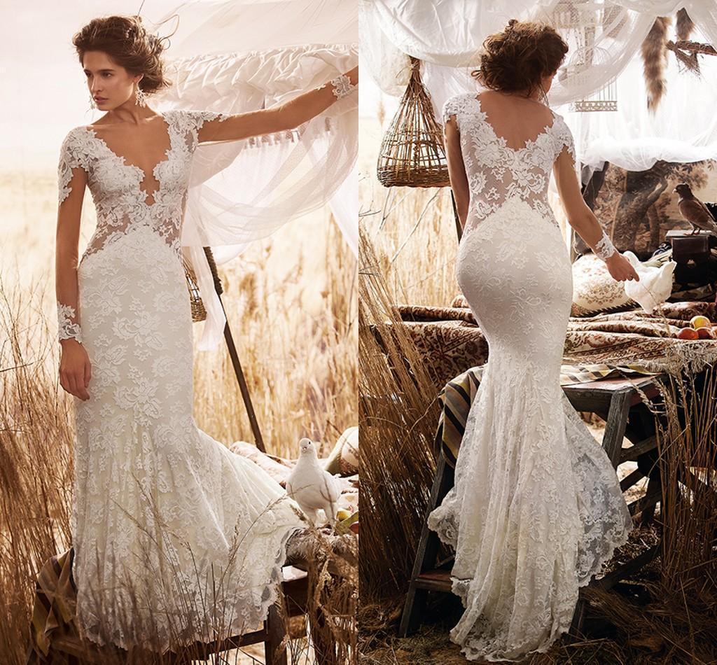 Vintage Lace Mermaid Wedding Dresses Sheer Long Sleeves