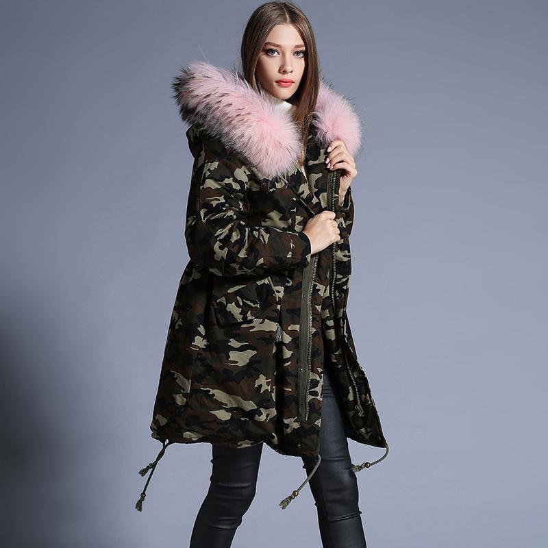 Winter Jacket Women Parkas Thicken Camouflage Really Raccoon Fur ...